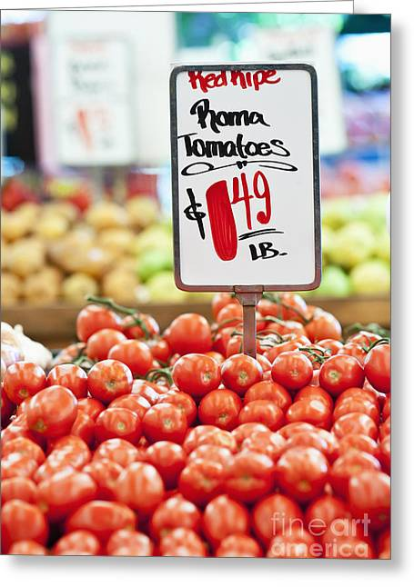 Grocery Store Greeting Cards - Roma Tomatoes On Sale Greeting Card by Jetta Productions, Inc