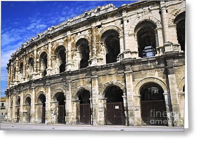 Roman arena in Nimes France Greeting Card by Elena Elisseeva