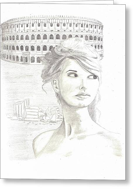 Pencil Drawing Greeting Cards - Roman Beauty-Taylor Swift Greeting Card by Jose Valeriano
