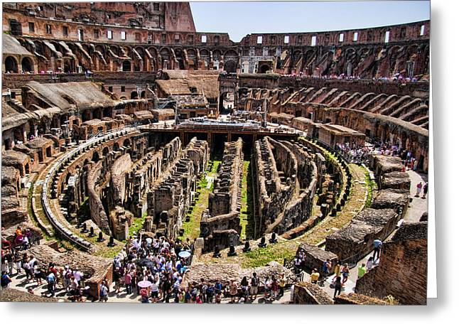 Gladiator Greeting Cards - Roman Coleseum Interior Greeting Card by David Smith