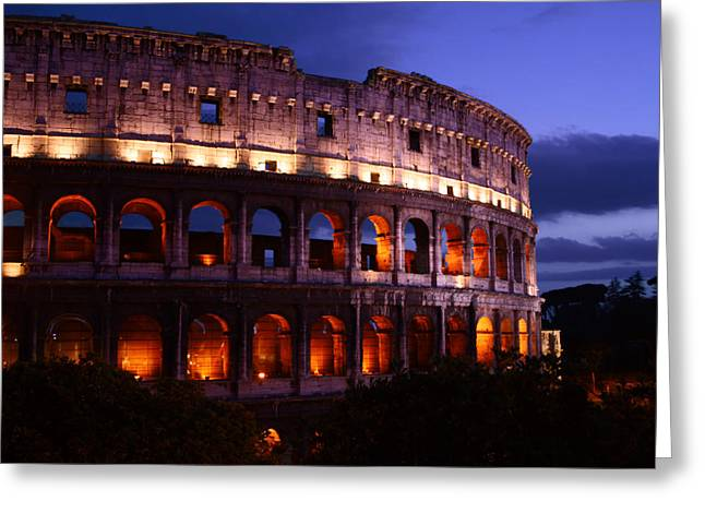 Nero Greeting Cards - Roman Colosseum at Night Greeting Card by Traveler Scout
