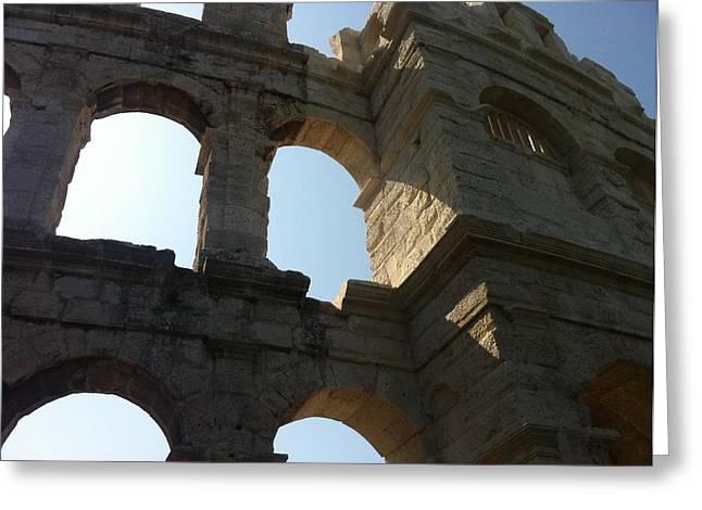 Mb Matthews Greeting Cards - Roman Colosseum at Pula Istria Greeting Card by MB Matthews