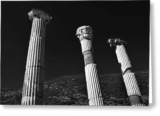 Ancient Ruins Greeting Cards - Roman Columns. Greeting Card by Terence Davis