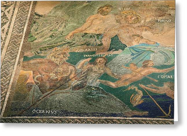Roman Cosmological Mosaic Greeting Card by Sheila Terry
