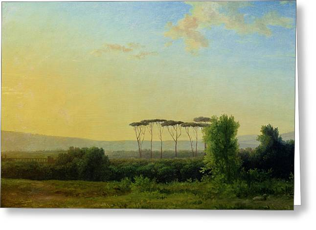 Rome Greeting Cards - Roman Countryside Greeting Card by Pierre Henri de Valenciennes
