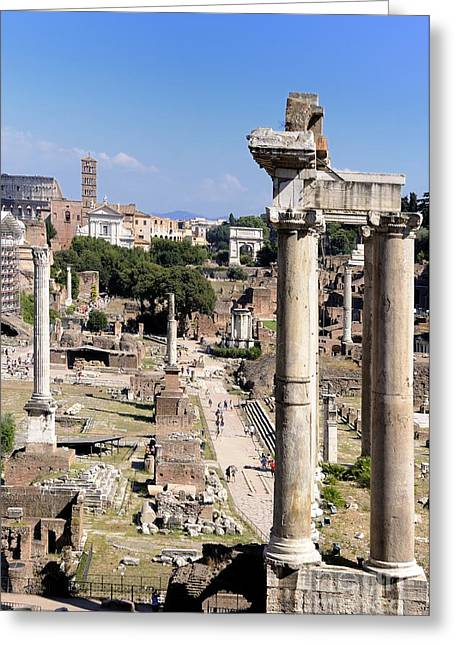 Ancient Ruins Greeting Cards - Roman forum. Rome Greeting Card by Bernard Jaubert
