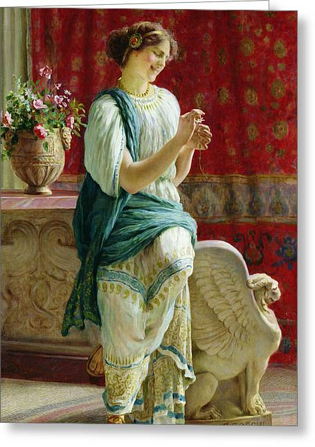 Best Sellers -  - Statue Portrait Greeting Cards - Roman Girl Greeting Card by Guglielmo Zocchi