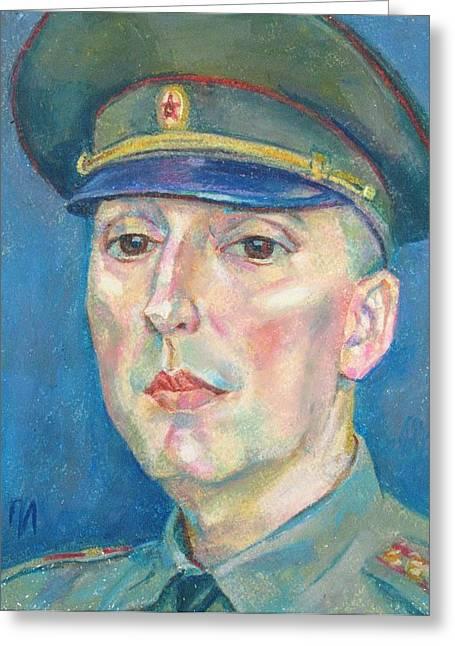 Military Pastels Greeting Cards - Roman Karetnikov Greeting Card by Leonid Petrushin