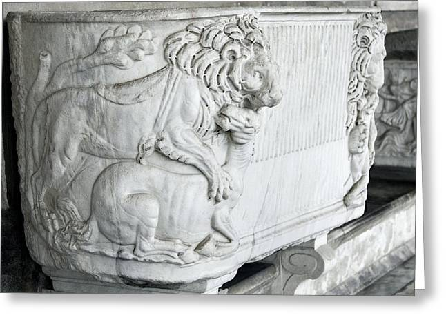 Roman Marble Sarcophagus Greeting Card by Sheila Terry