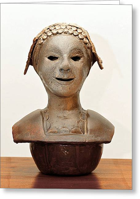 Torso Sculptures Greeting Cards - Roman mask torso lady with head cover face eyes large nose mouth shoulders Greeting Card by Rachel Hershkovitz