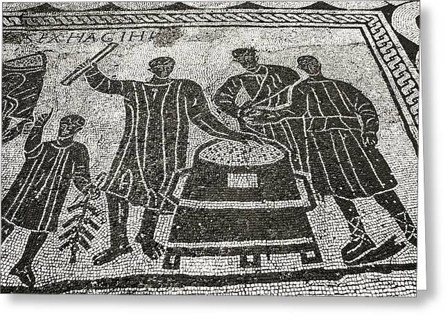 Roman Mosaic, Ostia Antica Greeting Card by Sheila Terry