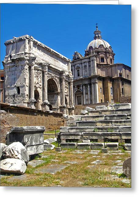 Roman Ruins - Roman Forum Greeting Card by Gregory Dyer