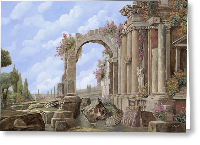 Stone Paintings Greeting Cards - Roman ruins Greeting Card by Guido Borelli