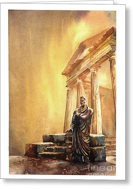 African Heritage Greeting Cards - Roman statue- Tunisia Greeting Card by Ryan Fox