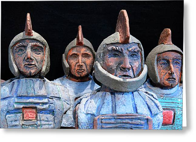 Archeology Ceramics Greeting Cards - Roman Warriors - Bust sculpture - Roemer - Romeinen - Antichi Romani - Romains - Romarere Greeting Card by Urft Valley Art