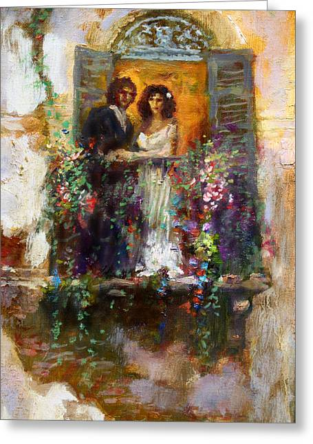 Groomed Greeting Cards - Romance in Venice  fragment balcony Greeting Card by Ylli Haruni