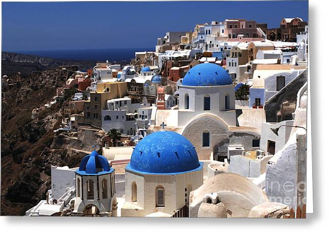 On The Edge Greeting Cards - Romance Of The Greek Islands Greeting Card by Bob Christopher