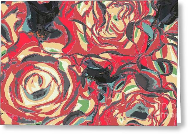 Floral Digital Art Digital Art Greeting Cards - Romance Reds Greeting Card by Jayne Logan Intveld