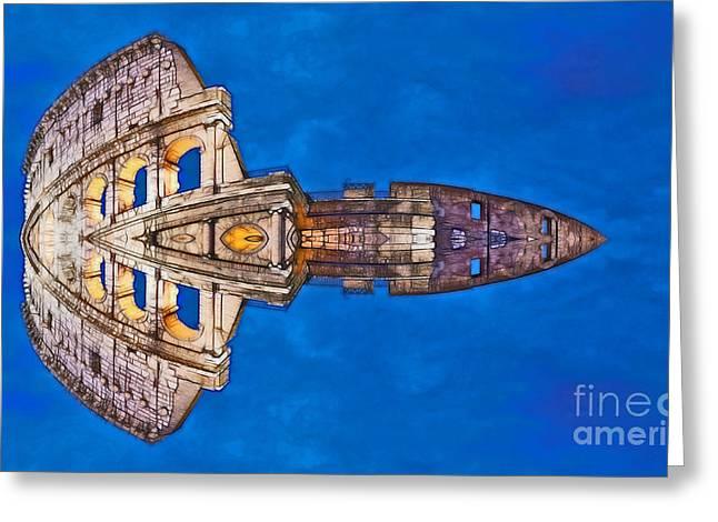Archifou Greeting Cards - Romano Spaceship - Archifou 73 Greeting Card by Aimelle