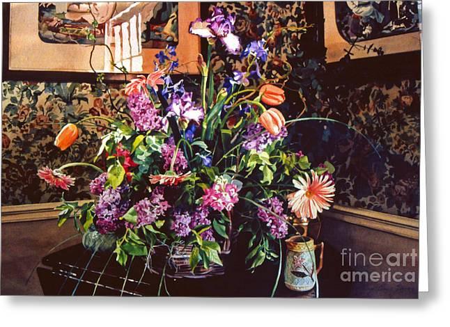 Floral Arrangement Greeting Cards - Romantic Arrangement Greeting Card by David Lloyd Glover