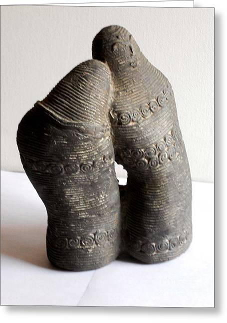 Couples Sculptures Greeting Cards - Romantic Couple Greeting Card by Manish Verma