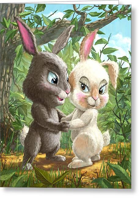 Cute Digital Art Greeting Cards - Romantic Cute Rabbits Greeting Card by Martin Davey