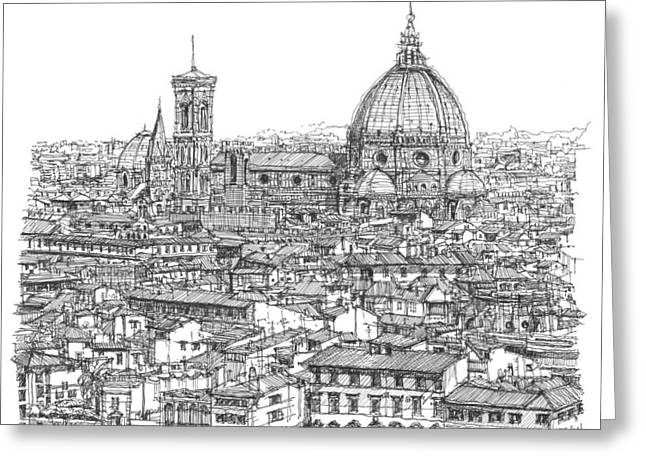 Pen And Ink Framed Prints Greeting Cards - Romantic Florence skyline in ink Greeting Card by Building  Art