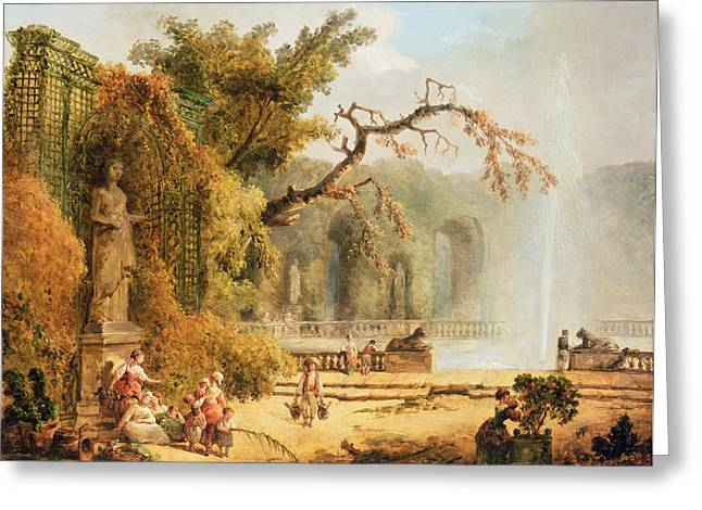 Garden Scene Greeting Cards - Romantic garden scene Greeting Card by Hubert Robert