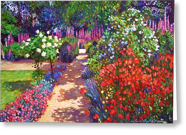 Floral Art Paintings Greeting Cards - Romantic Garden Walk Greeting Card by David Lloyd Glover