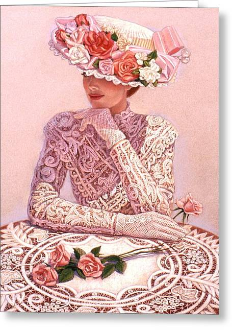 Lace Greeting Cards - Romantic Lady Greeting Card by Sue Halstenberg