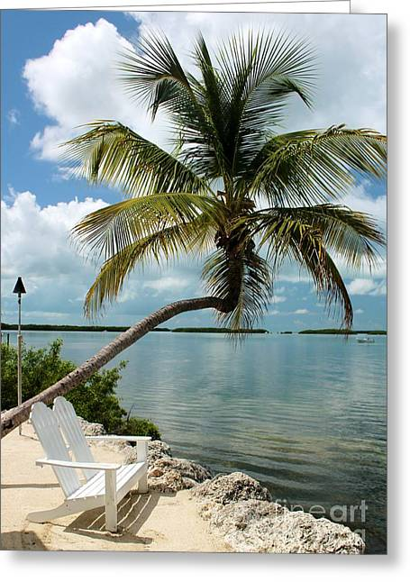 Isla Morada Greeting Cards - Romantic Lovers Bench Greeting Card by Rene Triay Photography