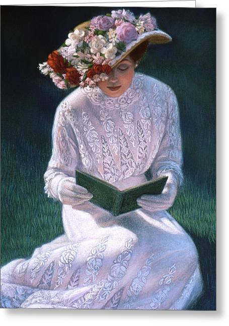 Portrait Pastels Greeting Cards - Romantic Novel Greeting Card by Sue Halstenberg