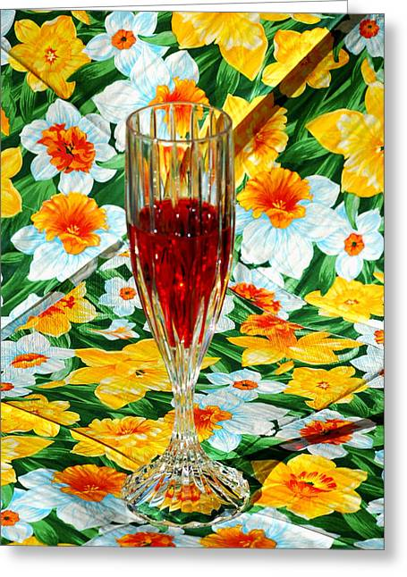 Fruit And Wine Greeting Cards - Romantic Ruby Greeting Card by LeeAnn McLaneGoetz McLaneGoetzStudioLLCcom