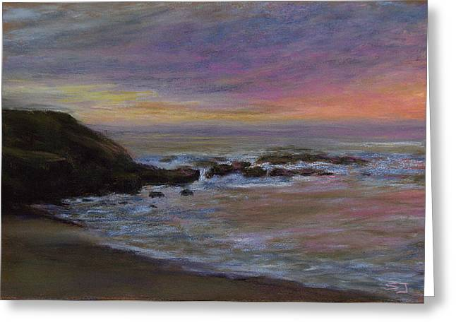 Beach Landscape Pastels Greeting Cards - Romantic Shore Greeting Card by Susan Jenkins
