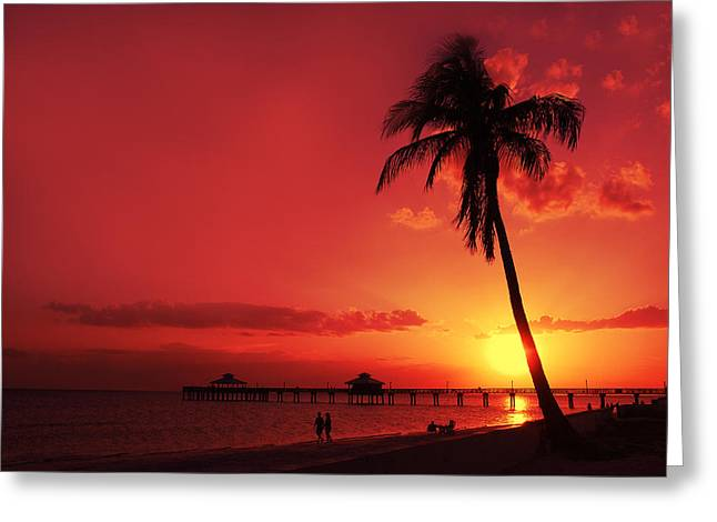 Summer Landscape Photographs Greeting Cards - Romantic Sunset Greeting Card by Melanie Viola