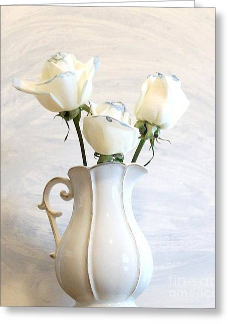 Rose Photos Greeting Cards - Romantic White Roses Greeting Card by Marsha Heiken