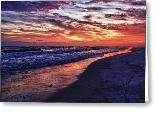 Crimson Tide Digital Art Greeting Cards - Romar Beach Sunset Greeting Card by Michael Thomas