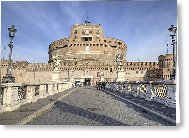 Angel Statue Greeting Cards - Rome - Castel SantAngelo Greeting Card by Joana Kruse