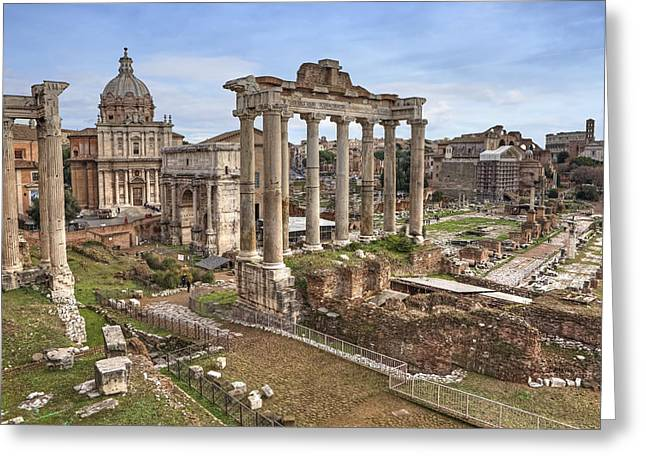 Capitol Hill Greeting Cards - Rome Forum Romanum Greeting Card by Joana Kruse