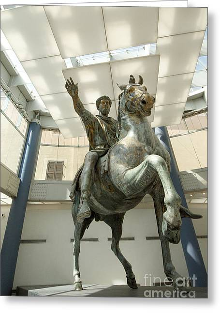 Culturally Greeting Cards - Rome Italy. Capitoline Museums Emperor Marco Aurelio Greeting Card by Bernard Jaubert