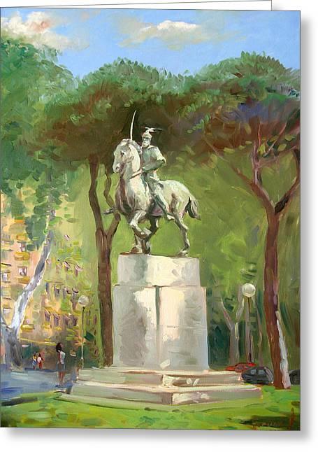 Horseman Greeting Cards - Rome Piazza Albania Greeting Card by Ylli Haruni