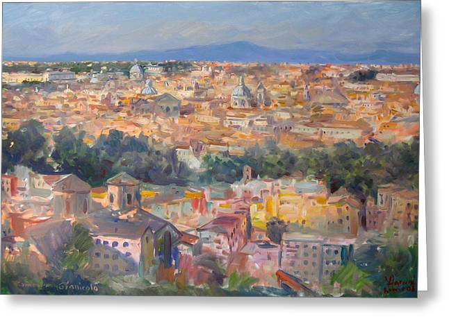 Rome Greeting Cards - Rome View from Gianicolo Greeting Card by Ylli Haruni