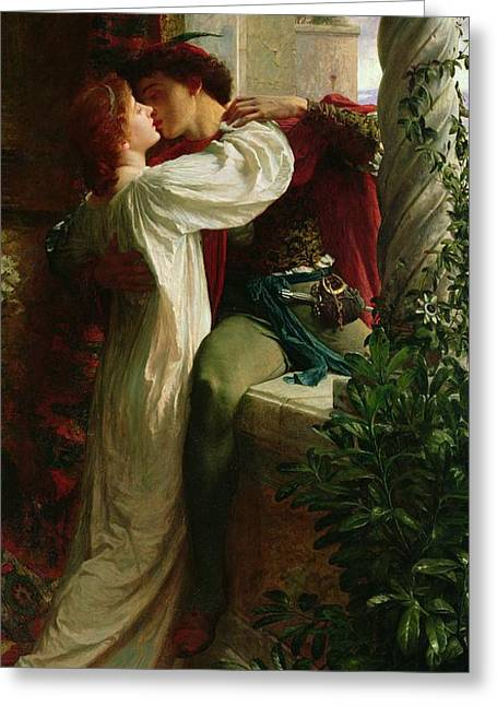 Couple Kissing Greeting Cards - Romeo and Juliet Greeting Card by Sir Frank Dicksee