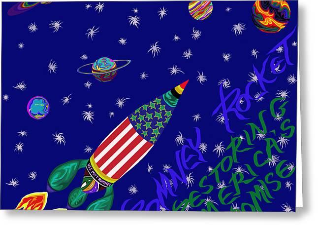 Battlestar Greeting Cards - Romney Rocket - Restoring Americas Promise Greeting Card by Robert  SORENSEN