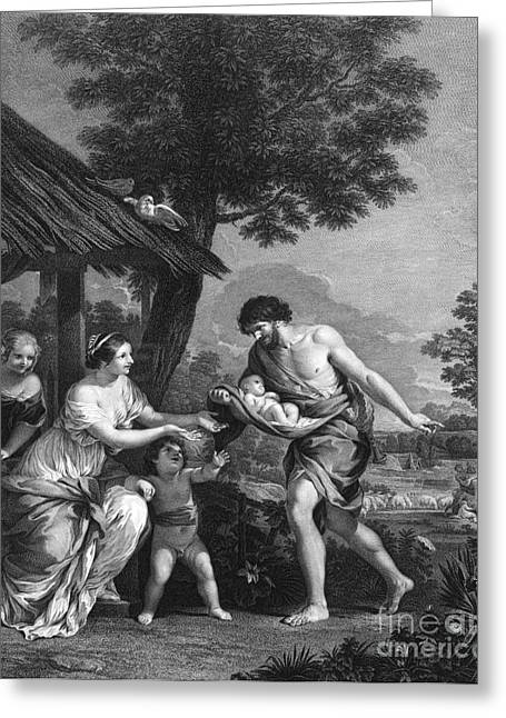Given Greeting Cards - Romulus And Remus Given Shelter Greeting Card by Photo Researchers