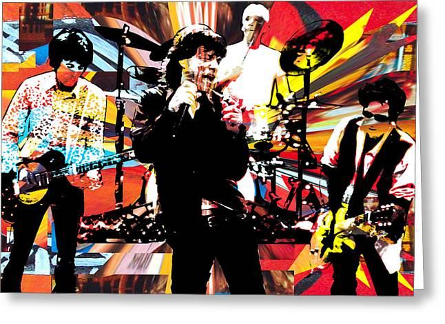 Mick Jagger And Keith Richards Greeting Cards - Ron Mick Charlie Keith Greeting Card by Kevin Newton