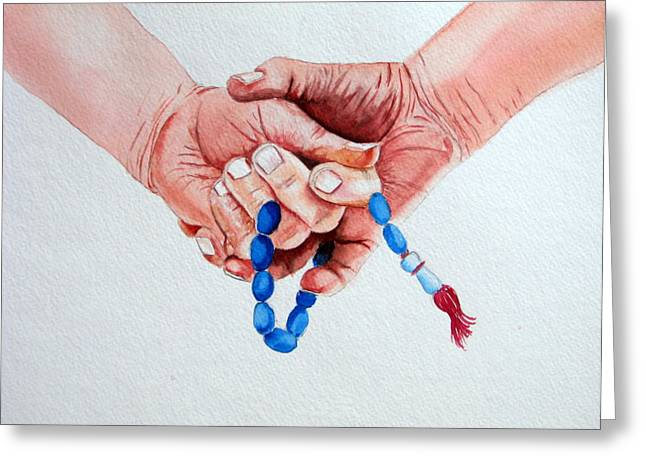 Rosary Greeting Cards - Ronaiki Greeting Card by Maria Barry