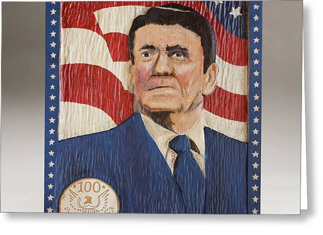 Red And White Reliefs Greeting Cards - Ronald Reagan Centennial Celebration Greeting Card by James Neill