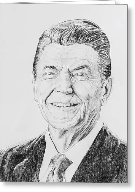 Republican Drawings Greeting Cards - Ronald Reagan Greeting Card by Daniel Young