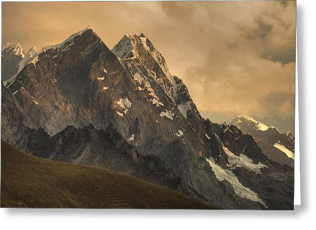 Mountain Greeting Cards - Rondoy Peak 5870m At Sunset Greeting Card by Colin Monteath